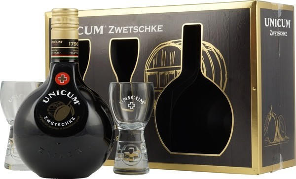 Unicum 0,7l 35% in Geschenkpackung mit zwei Gläsern
