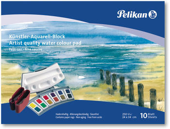 Pelikan Künstler-Aquarell-Block 24 x 34 cm A4 10 Blatt