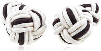 Teroon Unisex-Manschettenknopf Seidenknoten schwarz weiß (610344)
