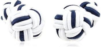 Teroon Unisex-Manschettenknopf Seidenknoten weiß blau (610320)