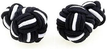 Teroon Unisex-Manschettenknopf Seidenknoten schwarz weiß (610276)