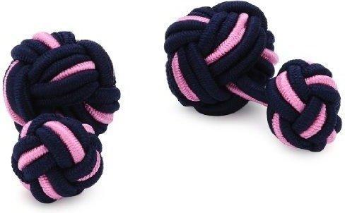 Teroon Unisex-Manschettenknopf Seidenknoten schwarz rosa (610252)