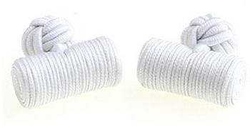 Teroon Unisex-Manschettenknopf Seidenrolle weiß (610597)