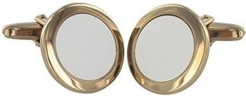 Grom Manschettenknöpfe Weißachat-Einlage Silber vergoldet (621838)