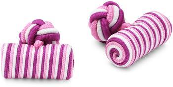 Teroon Unisex-Manschettenknopf Seidenrolle pink weiß rosa (610467)