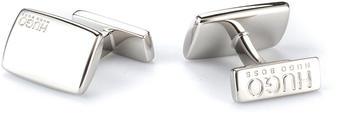 Hugo Rechteckige Manschettenknöpfe aus Messing mit fester Rückseite (50316380) silber