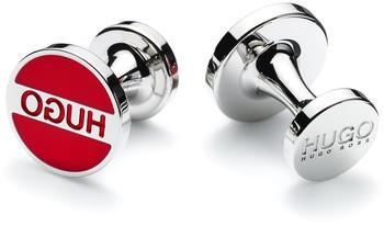 Hugo Runde Manschettenknöpfe aus Messing mit Logo und farbigem Emaille-Einsatz (50401048) rot
