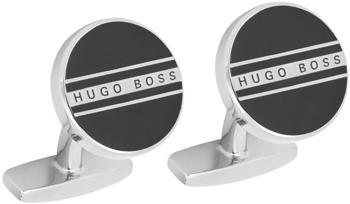 Hugo Boss Runde Manschettenknöpfe aus Messing mit Streifen und Logo (50434267) schwarz