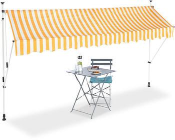 Relaxdays Klemmmarkise 350x180cm gelb/weiß