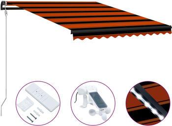 vidaXL Einziehbare Markise mit Windsensor & LED 300 x 250cm orange braun (3055295)