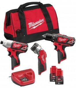 Milwaukee Pack 3 tools 12V BPP3A-202B (M12BDD + M12BID + C12T)