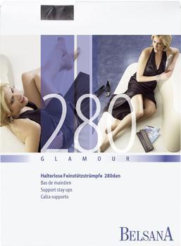 Belsana Glamour 280den Schenkelstrümpfe lang Spitzenhaftband L schwarz