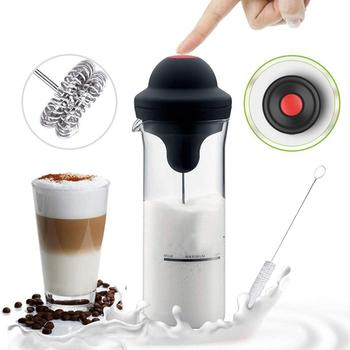 kueatily RunSnail Milchaufschäumer,Elektrischer Milchaufschäumer mit Doppeltem Quirl Mini Foamer für Cappuccino, Frappe, Matcha, heiße Schokolade mit 450 ml/17.7 oz Borosilikatglasbecher und sauberer Bürste
