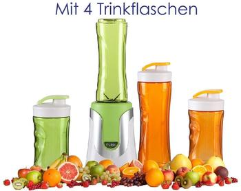 Domo Family Smoothie-Maker 300W Grün, 4 Flaschen (300ml & 600ml je 2 Grün & Orange)