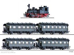 Tillig Reisezugwagenset aus Dampflokomotive T3 und vier Reisezugwagen (1x BCi, 2x Ci, 1x CPwi), DRG, Ep. II (1751)