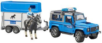 Bruder Land Rover Defender Polizei + berittener Polizist (02588)