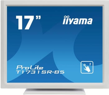 Iiyama Prolite T1731SR-W5 43 cm (17 Zoll) LED-Monitor SXGA Single Touch resisitiv (VGA, HDMI, DisplayPort, USB für Touch, IP54) Weiss