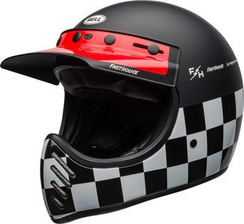 Bell Moto-3 Fasthouse Checkers matt schwarz/weiß/rot