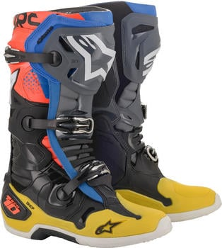 Alpinestars Tech 10 Boot Black/Yellow/Blue/Red