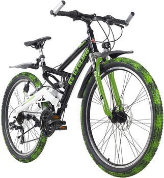 KS-CYCLING KS Cycling Mountainbike Fully ATB 26 »Crusher«, schwarz-grün RH 46 cm