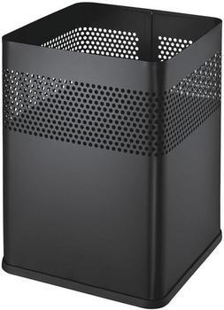 Helit Papierkorb Stahl mit Lochdeckor eckig 15 L schwarz