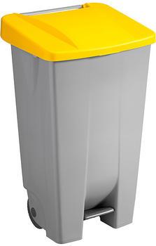 SunWare Basic Tretabfalleimer mit Rollen 120 L grau/gelb (H2405518)