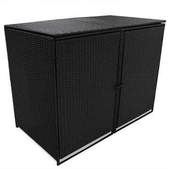 VidaXL Double Polirattan Garbage Bin Cover Black (148x80x111cm)