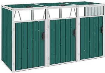 vidaXL Mülltonnenbox Stahl 3 x 240 Liter grün