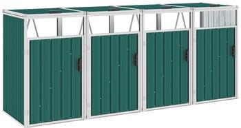 vidaXL Mülltonnenbox Stahl 4 x 240 Liter grün