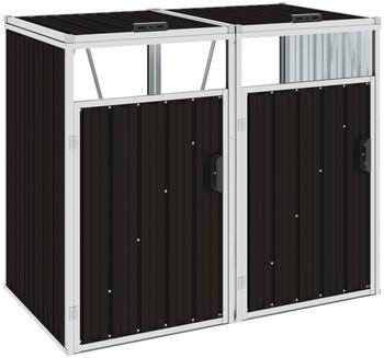 vidaXL Mülltonnenbox Stahl 2 x 240 Liter braun