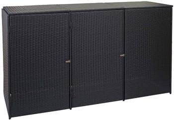 mendler-muelltonnenverkleidung-polyrattan-hwc-e25-3-x-120-liter-schwarz