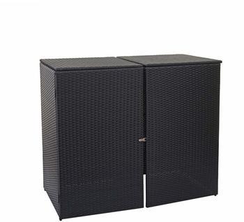 mendler-muelltonnenverkleidung-polyrattan-hwc-e25-2-x-120-liter-schwarz
