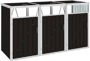 vidaXL Mülltonnenbox Stahl 3 x 240 Liter braun (46284)