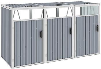 vidaXL Mülltonnenbox Stahl 3 x 240 Liter grau (46282)
