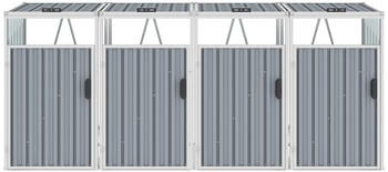 vidaXL Mülltonnenbox Stahl 4 x 240 Liter grau (46286)