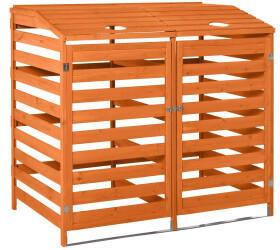 Outsunny Massivholz-Mülltonnenbox 2 x 240 Liter orange