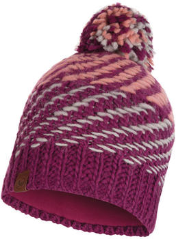 Buff Knitted & Band Polar Fleece Hat Nella raspebrry