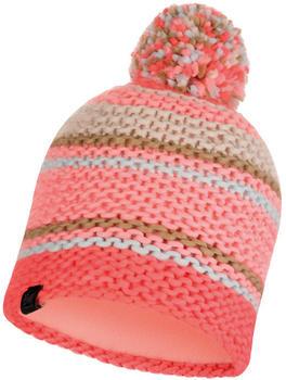 Buff Knitted & Band Polar Fleece Hat Dorian coral pink
