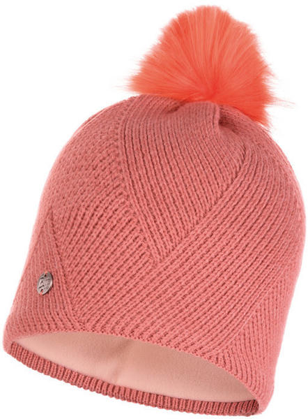 Buff Knitted & Band Polar Fleece Hat Disa peach