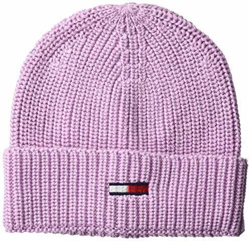 Tommy Hilfiger Flag Rib-Knit Beanie lilac