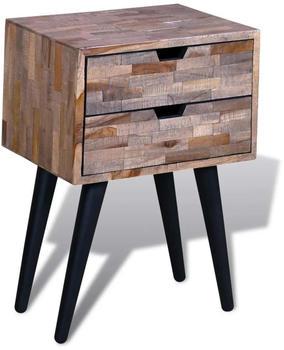 vidaXL Bedside Table 2 Drawers Recycled Teak Wood