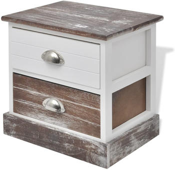 vidaXL Bedside Table Brown and White