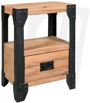 vidaXL Bedside Table in Acacia Wood and Steel