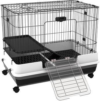 Pawhut Nagerkäig Meerschweinchen Hamster Mäuse mit 2 Türen und Plattform 81,2 x 52,7 x 66 cm