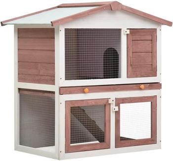 vidaXL Kaninchenstall mit 3 Türen braun