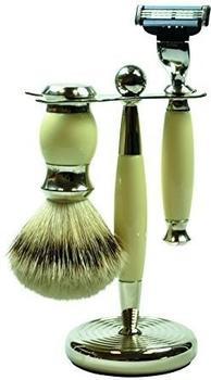 Golddachs Rasierset Vintage-Look weiß silber (3-tlg.)