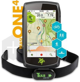 Teasi One4 HR Bundle Outdoor Navi Fahrrad, Geocaching, Ski, Wandern, Boot Westeuropa, Osteuropa, Eur