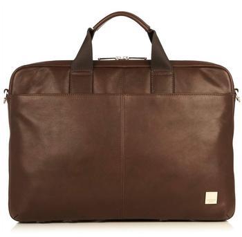 knomo Durham 15.6 Full Leather Briefcase braun