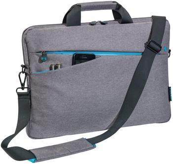PEDEA Notebooktasche Fashion für 17,3 Zoll (43,9cm) mit Zubehörfach, Schultergurt, grau