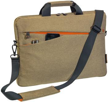 PEDEA Notebooktasche Fashion für 17,3 Zoll (43,9cm) mit Zubehörfach, Schultergurt, beige